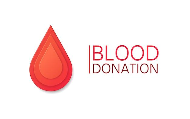 Fond de vecteur de don de sang. goutte de sang en papier.