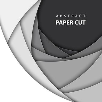 Fond de vecteur avec du papier blanc et noir coupé