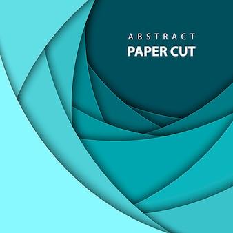 Fond de vecteur avec du papier de couleur bleue coupé.