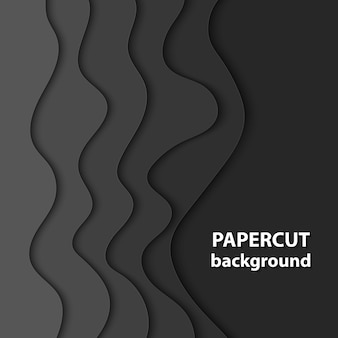 Fond de vecteur avec du papier de couleur noire coupé