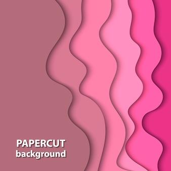 Fond de vecteur avec du papier de couleur rose coupé