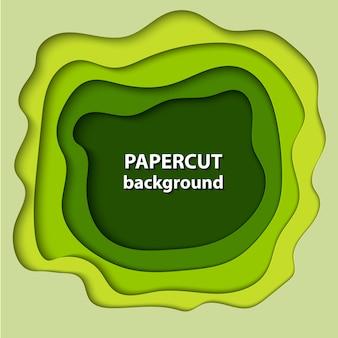 Fond de vecteur avec du papier de couleur verte coupé