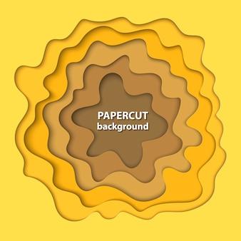 Fond de vecteur avec du papier dégradé jaune coupé