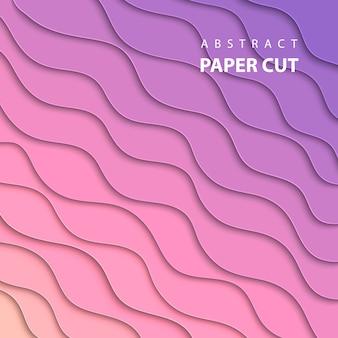 Fond de vecteur avec du papier rose et lila coupé