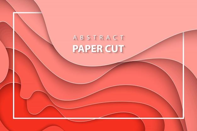 Fond de vecteur avec du papier tendance corail coupé