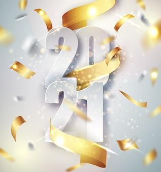 Fond de vecteur élégant bonne année 2021 avec ruban cadeau doré, confettis, chiffres blancs