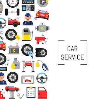 Fond de vecteur avec des éléments de service de voiture style plat et place pour le texte. illustration de concept de service de voiture de bannière