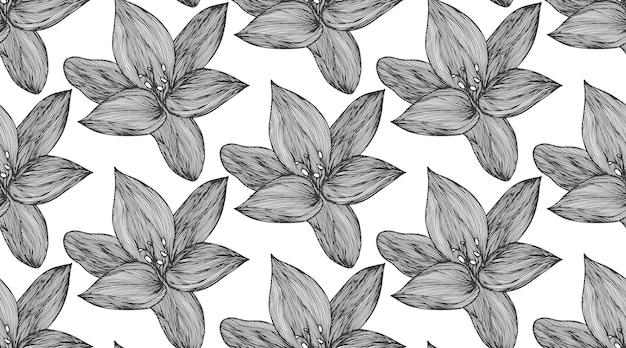 Fond de vecteur floral noir et blanc. modèle sans couture de ligne de fleur de lys linéaire pour le design textile. motif de fleur noir et blanc sans soudure de vecteur.