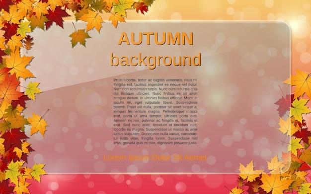 Fond de vecteur flou de style automne avec des feuilles colorées et panneau d'affichage en verre