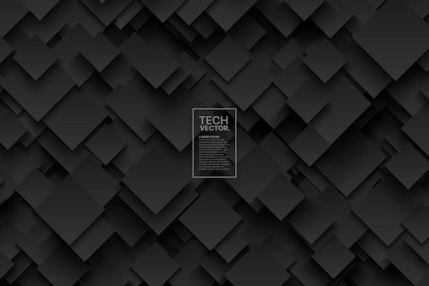 Fond de vecteur gris foncé technologie 3d abstraite