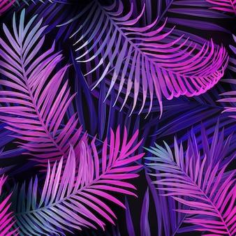 Fond de vecteur harmonieux de néon tropique, feuilles de palmier tropical d'été motif vibrant, conception d'illustration florale hawaii pour textile, toile de fond, décoration de mode, tissu tendance, affiche de fête de plage