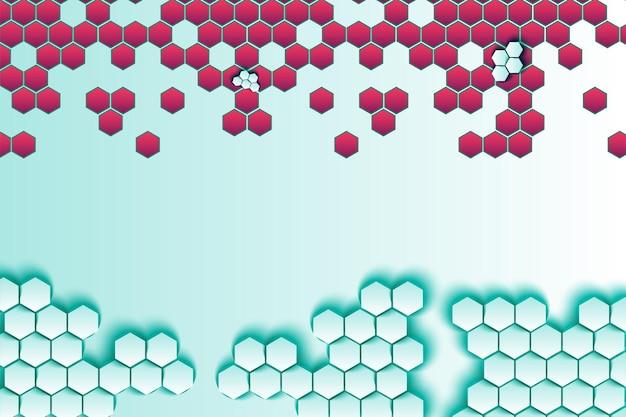 Fond de vecteur d'hexagones 3d en nid d'abeille. toile de fond minimaliste avec décor hexagonal rouge et bleu