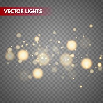 Fond de vecteur de lumières bokeh. particules floues magiques.