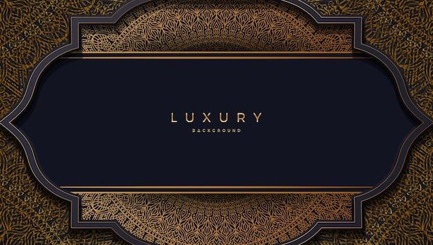 Fond de vecteur de luxe avec mandala doré rond