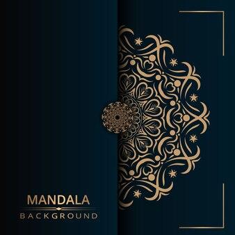 Fond de vecteur de mandala de luxe avec style arabesque doré