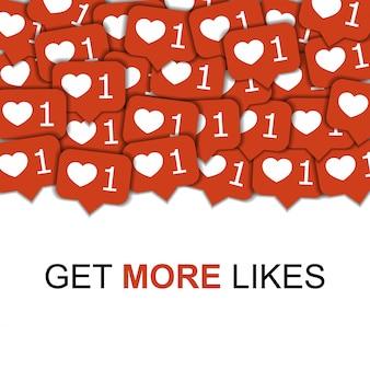 Fond de vecteur de médias sociaux avec des coeurs