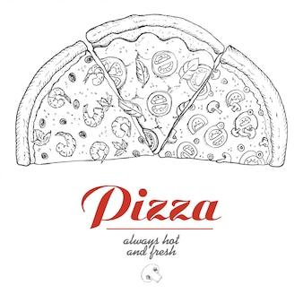 Fond de vecteur avec des morceaux de pizza