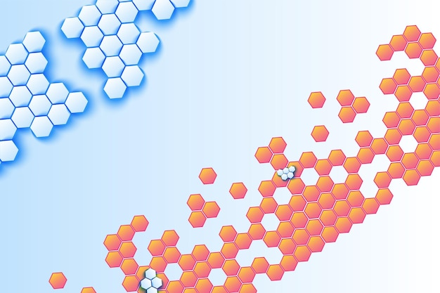 Fond de vecteur de mosaïque volumétrique en nid d'abeille. toile de fond décorative hexagonale bleue et orange