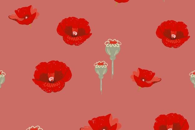 Fond de vecteur de motif floral coquelicot rouge