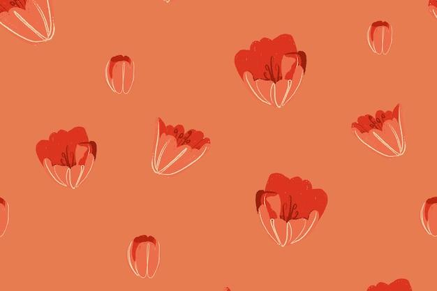Fond de vecteur de motif floral tulipe rouge