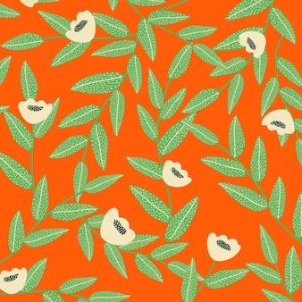Fond de vecteur à motifs de pavot en rouge