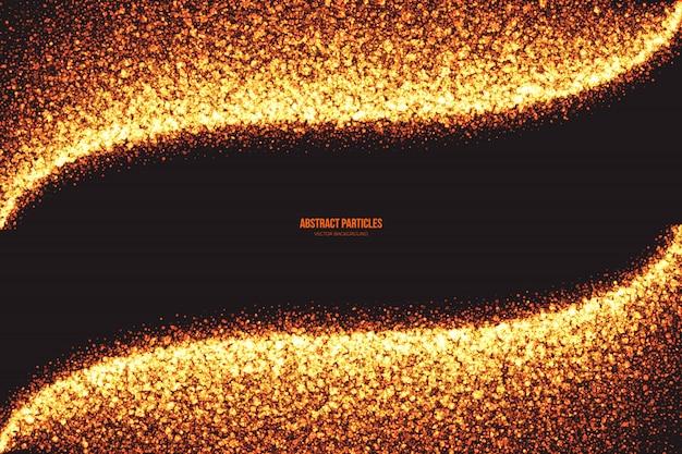 Fond de vecteur des particules rondes scintillantes golden shimmer