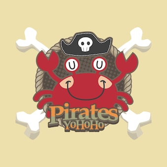 Fond de vecteur pour le dessin animé pirates mignon