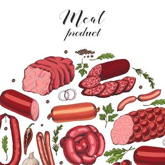 Fond de vecteur avec des produits à base de viande de couleur différente