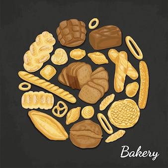Fond de vecteur avec des produits de boulangerie