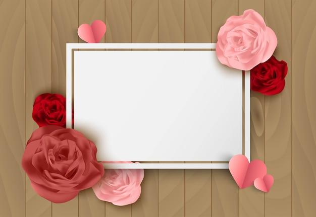 Fond de vecteur rose saint valentin avec rose