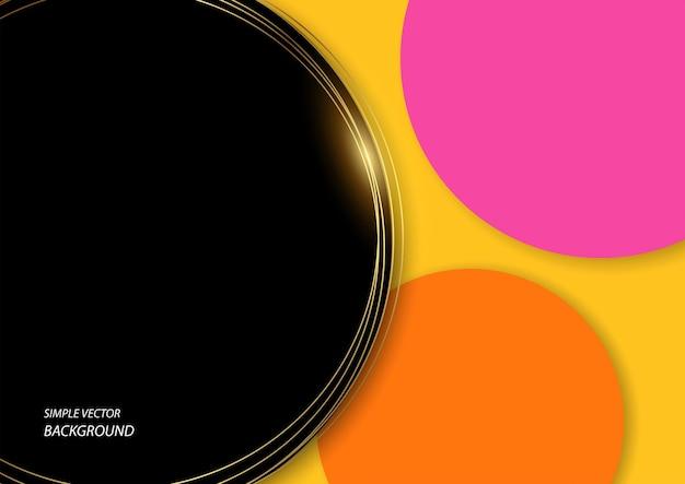 Fond de vecteur simple de cercle noir décoré de lignes dorées et de cercles colorés