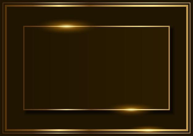 Fond de vecteur simple de forme rectangle avec cadre doré