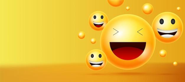 Fond de vecteur de smileys jaunes. émoticônes ou smileys avec des expressions faciales drôles et joyeuses sur fond d'espace vide jaune pour le texte ou la présentation. illustration vectorielle.
