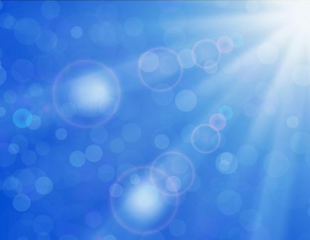 Fond de vecteur avec un soleil brillant sur un ciel bleu