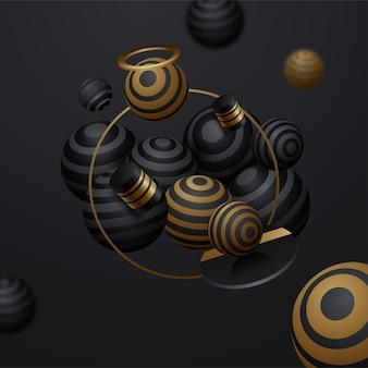 Fond de vecteur de sphères rayées abstraites