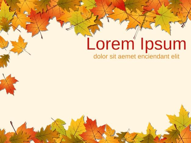 Fond de vecteur de style automne avec des feuilles colorées