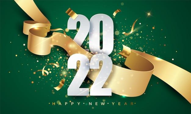 Fond de vecteur vert 2022 happy new year avec ruban doré, confettis, chiffres blancs. noël célèbre le design. modèle de concept premium festif pour les vacances