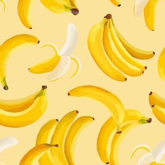 Fond vectorielle continue de banane tropicale. conception de motifs de fruits tropicaux exotiques. modèle aquarelle pour invitation, affiche moderne, toile de fond minimale, couverture