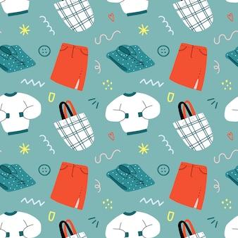 Fond vectorielle continue avec des illustrations de vêtements de mode