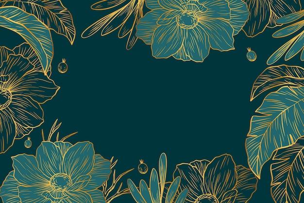 Fond de végétation avec des détails dorés