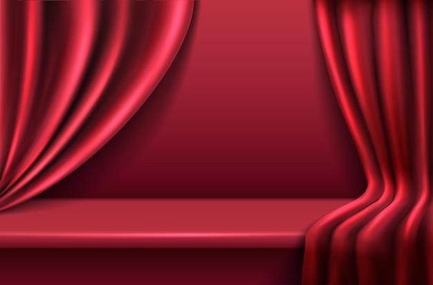 Fond de velours rouge avec des rideaux de draperie ondulés