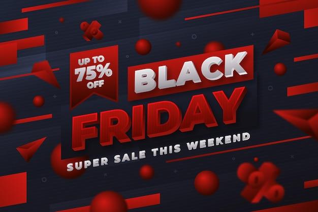 Fond de vendredi noir 3d réaliste