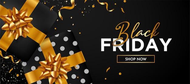 Fond de vendredi noir avec cadeau noir 3d réaliste