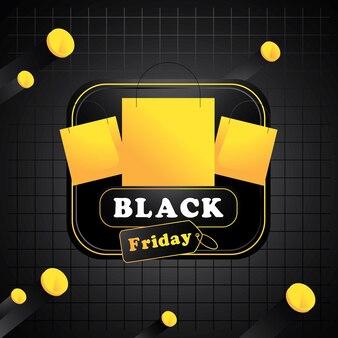 Fond de vendredi noir avec illustration vectorielle de pièces d'or