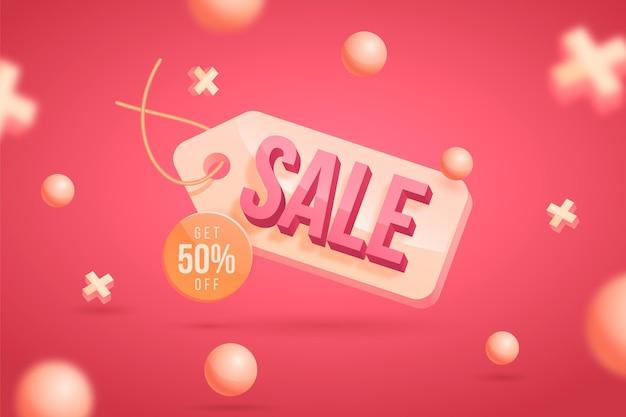 Fond de vente 3d réaliste avec remise
