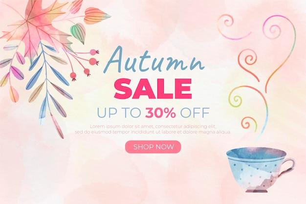 Fond de vente automne aquarelle