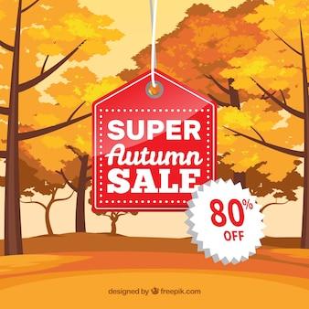 Fond de vente automne avec des arbres