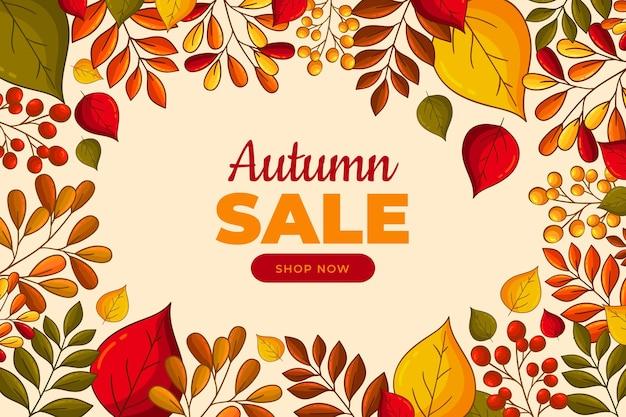 Fond de vente d'automne dessiné à la main