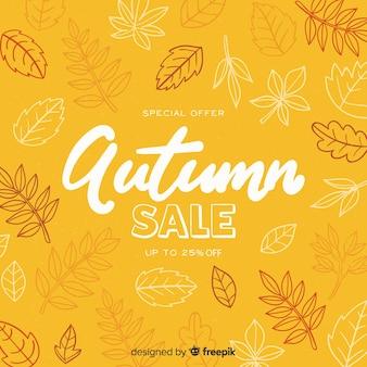 Fond de vente automne dessinés à la main