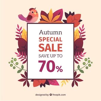 Fond de vente automne avec des feuilles colorées